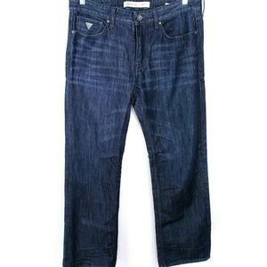 Guess Mens Blue Jeans Relaxed Straight Leg Dark Si